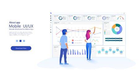 Le persone lavorano in team e interagiscono con i grafici. Affari, gestione del flusso di lavoro. Statistiche online e analisi dei dati. Modello di sito Web per il concetto di apprendimento profondo. Vettore Vettoriali
