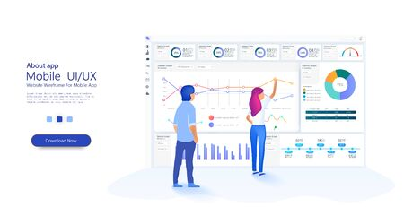 People work in a team and interact with graphs. Business, workflow management. Online statistics and data Analytics. Website template for deep learning concept. Vector Vektorové ilustrace