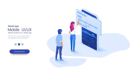 Girl and man interacts with credit card and phone in isometry. Online card payment concept ,easy payments. Easy Edit and Customize. mobile app, landing page, presentation