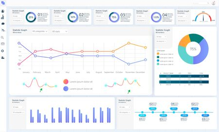 Dashboard, great design for any site purposes. Business infographic template. Vector flat illustration. Big data concept Dashboard user admin panel template design. Analytics admin dashboard. Ilustracje wektorowe