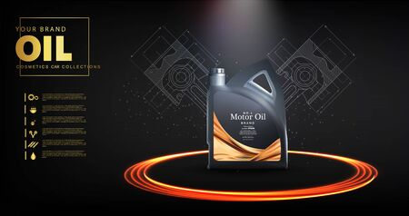 Bottle engine oil on a background a motor-car piston, Technical illustrations. Realistic 3D vector image. canister ads template with brand logo. Engine oil advertisement banner Stock Illustratie