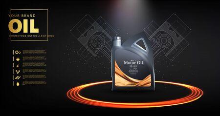 Flaschenmotoröl auf einem Hintergrund eines Pkw-Kolbens, technische Illustrationen. Realistisches 3D-Vektorbild. Kanister-Anzeigen-Vorlage mit Markenlogo. Werbebanner für Motoröl