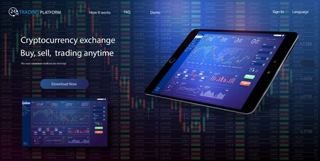 Binary option. All situation on market: Put Call, Win Lost deal. Futuristic user interface. Infographic elements. Abstract virtual graphic touch 3D UI for business app.Screen monitor set web elements 일러스트