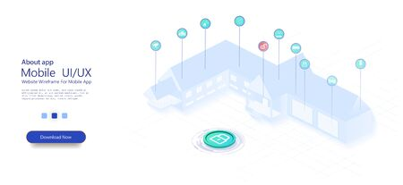 Smart home with internet of things isometric concept. IOT technology in house automation design. Smart city technology. Iot, technology concept. Modern design. 3d vector illustration Illusztráció