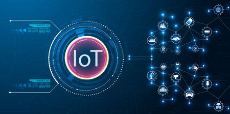 IoT (Internet of things ) or Industry 4.0 (industrial internet) banner. Concept and infographic. Connected devices and objects with business automation flow  a blue background. landing page template Illustration