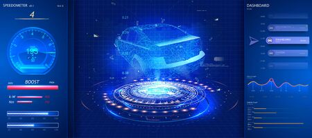 Car service app in the style of HUD. Virtual graphical interface UI GUI HUD autoscanning, analysis and diagnostics, speedometer. Hardware diagnostics condition of the car. Futuristic hologram car.
