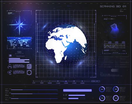 Hi-tech digital abstract background display holographic earth. Futuristic user interface HUD and Infographic elements. Abstract virtual graphic touch user interface.UI hud  screen monitor radar.Vector Banque d'images - 129498175