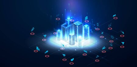 Low poly smart city wireframe. Sparkle stardust. Glittering vector with blue particles on dark background. Architecture urban cityscape technology sketch banner vector illustration