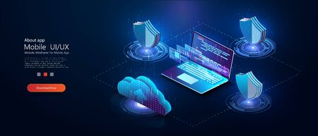 Program development and programming isometric icon, database, cloud computing,laptop Connection concept. Big data digital background.Network digital technology concept.Big data flow processing concept Stock fotó - 129498179