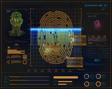 Concept of digital security, electronic fingerprint on scanning screen. Face recognition concept. Biometric face scanning Fingerprint verification, cyber protection.Futuristic security in stule HUD UI