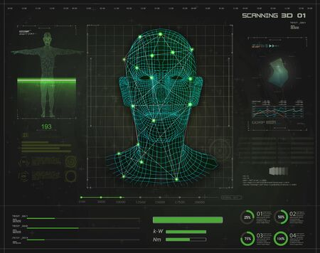 Artificial intelligence. Biometric identification or Facial recognition system concept in style HUD GUI. Concept of biometric technology, digital Face Scanning, human head. Futuristic green background