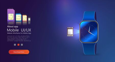 Smart watch on blue background. eSIM technology concept with smart watch . embedded sim the next gen of sim cards. Nano hologram sim cards.  イラスト・ベクター素材