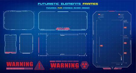 HUD UI GUI futuristic user interface screen elements set. High tech screen for video game. Sci-fi concept design. Square Frames Blocks Set HUD Interface Elements. Futuristic warning frame. Vector