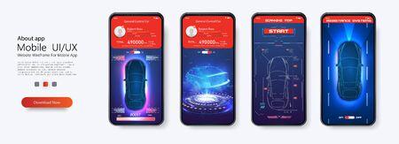 Modern design of mobile application of car service. Smart car (HUD, UI, GUI). Home,menu, type of service. Futuristic car diagnostic. Autonomous smart car scans the road. e-car. Artificial Internet. Ilustrace