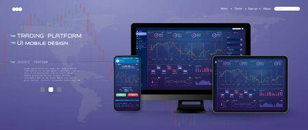 Interface utilisateur commerciale, superbe design pour tous les usages. Notion de commerce. Modèle d'écran de site Web. marché des changes, actualités et analyses. option binaire. Application d'investissement et de trading en ligne, tablette, smartphone, pc. Vecteurs