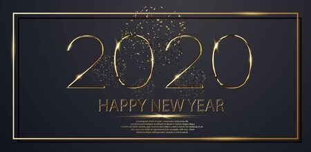 Happy New Year 2020 winter holiday greeting card design template. Party poster, banner or invitation gold glittering stars confetti glitter decoration.