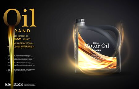 Engine oil advertisement background. Motor oil on the light golden bokeh background with containers,Realistic 3D vector image. canister ads template with brand logo. Vector Stock Illustratie