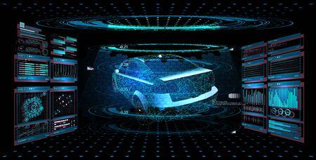 Service de voiture de conception moderne dans le style HUD UI GUI. Infographie automatique de diagnostic. Analyse automatique de l'interface graphique virtuelle, analyse et diagnostic, analyse automatique. Hologramme de la voiture. Illustration vectorielle. Vecteurs