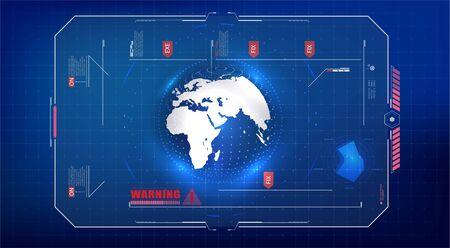 Hologram planet Earth in window virtual touchscreen user interface. 3d illustration of detailed virtual planet Earth. Technological digital globe world. Futuristic user interface HUD. Sci-fi concept. Ilustración de vector
