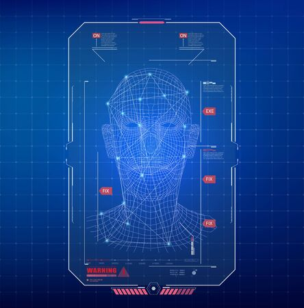 Face Recognition Abstract Tech Background. Biometric Identification or Recognition System of Person in style HUD UI. Vector Illustration