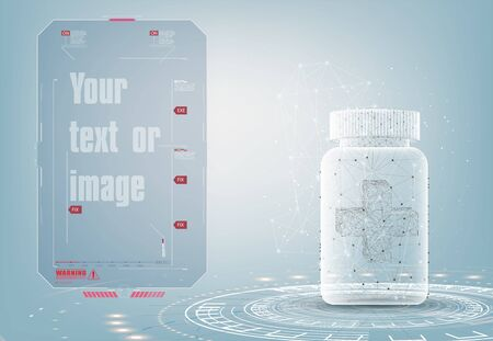 Pill box with cross cover. Multivitamins and minerals advertising poster, flyer design template. Polygonal wireframe vector abstract. Quote speech bubble. Frame for text triangle. Text box vector