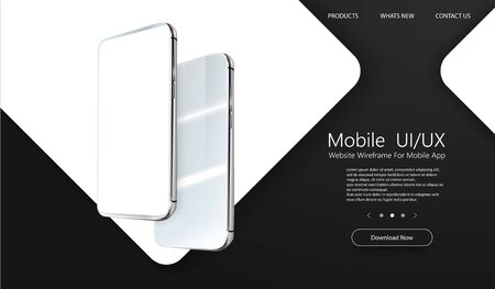 Modern cellphone with blank app screens mockup. Wireframing screens template to create and showcase your mobile ui, ux, kit. Frameless smartphones screen, mobile app presentation template. Vector illustration