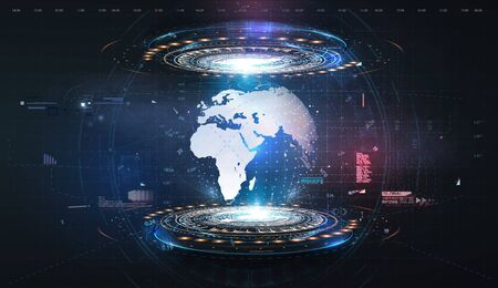 Hologram earth for concept design. Blue futuristic background with planet Earth. Abstract tech design background. Virtual graphic.Abstract modern background. Science technology background. HUD UI GUI