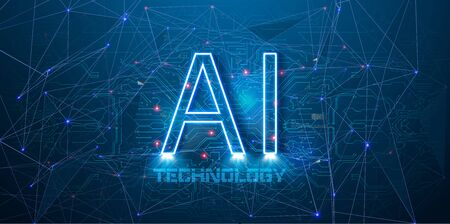 Illustration of Artificial intelligence AI with blue neon AI text on a printed circuit Board background. Abstract the concept of cyber technology and automation. Futuristic, Robotics. banner modern