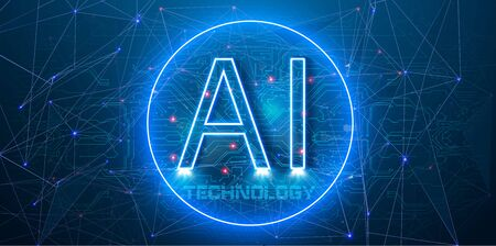 AI in a neon blue circle. Abstract futuristic digital and technology on light blue color background. Artificial Intelligence AI landing page. Website template for deep learning concept. Illustration