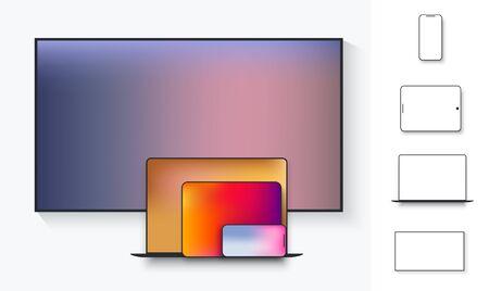 Conjunto de computadora portátil, tableta, tv, teléfono inteligente con ilustración de vector de sombra. Icono de vector plano de pantalla para aplicaciones y sitios web. Esquema de la electrónica de la maqueta.