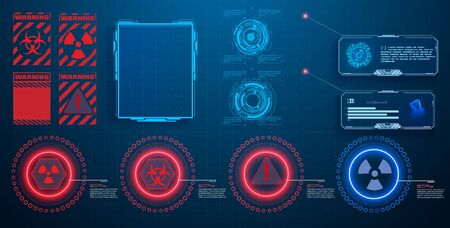 HUD, UI, GUI futuristic user interface screen elements set. High tech screen for video game. Sci-fi concept design. User interface HUD and Infographic elements, virtual graphic. Vector illustration