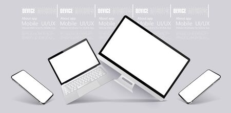 Computer, tablet and smartphone responsive with white screen. Mockups gadgets vector set. 3D realistic models technology device and electronics. Gadgets from different angles, perspective, isometric. Ilustracja