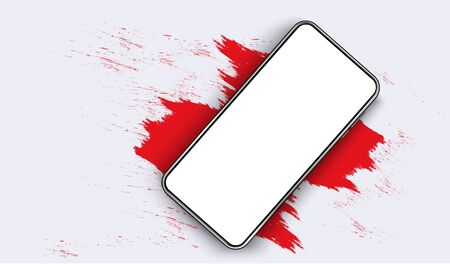 Smartphone blank screen, phone mockup. The view from the top of the phone on a red spot. Template for infographics or presentation UI design interface. vector red
