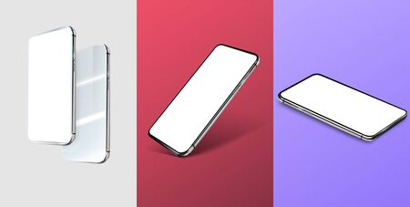 Three mobile phone layouts, in different positions. Modern phone positions and trending color backgrounds Red, white, blue . Well suited for your presentations and mockups. 3D. Vector illustration