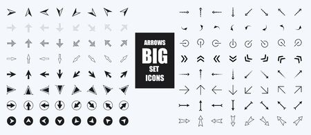 Arrow Icon collection. Infographic arrows sign, next or back web button and right pointer. Direction glyph arrowheads navigation or download black buttons vector silhouette isolated icons set. Cursor Illusztráció