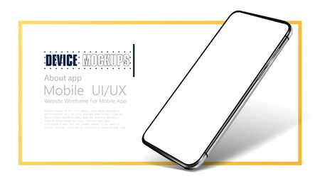 Smartphone frame less blank screen. Mockup generic device. Realistic smartphone template mockup for user experience presentation. Mobile app mock-up vector illustration Ilustracja