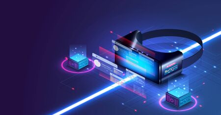 VR technology concept. Virtual reality isometric view display. Mixed media abstract.Gamer concept. Interactive screen. Future technology concept. Innovative technology development and product analysis