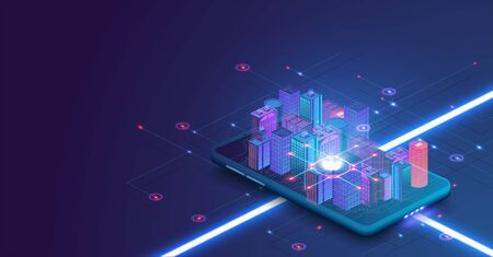 Smart city or intelligent building isometric vector concept. Building automation with computer networking illustration. Intelligent buildings in future city. Smart city building on smartphone. Blue