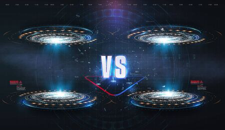 VS, Versus futuristic design. Battle headline template. Futuristic abstract technology background. HUD, UI, GUI Menu User Interface. Square rames blocks. Sci-fi concept design. Modern tournament.
