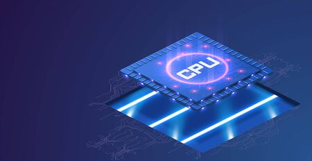 Futuristic microchip processor with lights on the blue background. Microchip processor with lights effects. cybernetic system, futuristic computing technology. CPU isometric vector banner.Digital chip