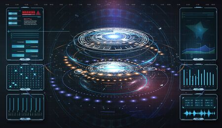 HUD,UI, GUI . Abstract virtual graphic touch user interface. Vector science abstract. Futuristic user interface with digital infographics and data charts vector electronic scifi hologram concept Vettoriali