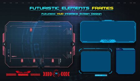 HUD, UI,UX GUI futuristic user interface screen elements set. High tech screen for video game. Sci-fi concept design. Callouts titles. Modern banners, frames of lower third. Red. Vector illustration