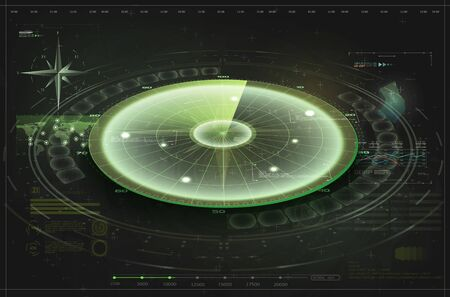 Futuristic radar screen, searching target. Air search. Military search system . Navigation interface wallpaper. Control Center HUD,Terrain view from satellite with futuristic digital interface. Radar