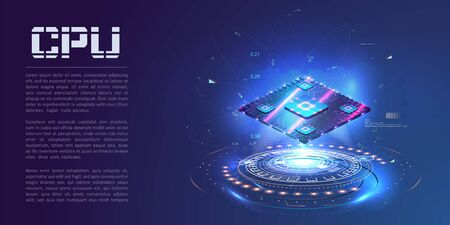 A futuristic projection of the microchip of the future. 3D closeup of cpu for web design. Integrated communication processor. Concept with circuit board and processor. CPU isometric banner. Vector illustration