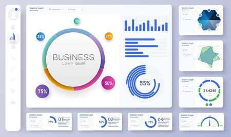 Dashboard, great design for any site purposes. Informative and simple dashboard. Colorful infographics template for business and other projects. Admin panel interface with color charts. Vector UI UX