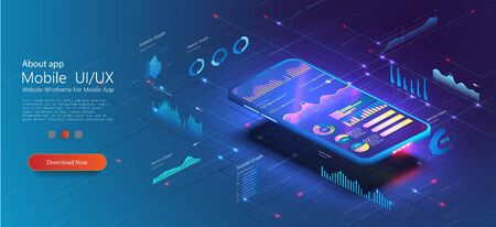 Online statistics and data Analytics UX UI . Digital money market, investment, finance and trading. Analysis trends and financial strategy by using infographic chart. Vector concept illustration