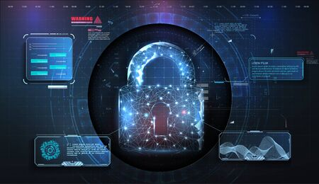 Cyber security concept. Personal data security Illustrates cyber data or information privacy idea. Futuristic user interface. HUD, GUI, UI. Abstract virtual graphic touch user interface. Vector illustration