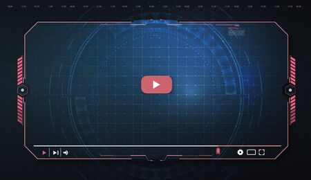 Futuristic Desktop Video player, modern digital Video player for the web templates. New Media Player interface. Skin video player. Template for Web and Mobile Apps. Vector illustration