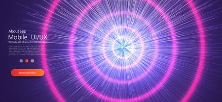 Fast moving at light speed - trends, modern warp star beams. Blue pink neon round frame, circle, ring shape, ultraviolet light, fashion show stage, abstract background Ilustracja