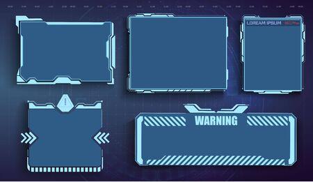 Interface de menu utilisateur futuriste. Cadre de jeu HUD futuriste. Cadre d'écran virtuel futuriste. Cadre de technologie cyber. UI, GUI, ensemble d'éléments d'écran d'interface utilisateur de cadre futuriste. Ensemble avec communication d'appels